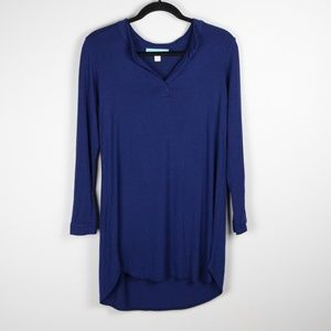 Dina Be Softest Navy Blue Long Sleeve V Neck Tunic
